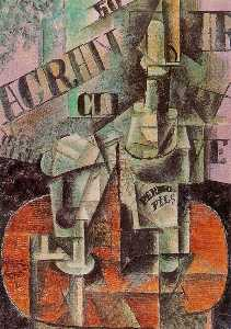 Pablo Picasso - Table in a Cafe (Bottle of Pernod)