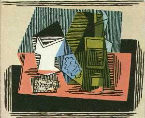 Pablo Picasso - Glass, bottle, packet of tobacco