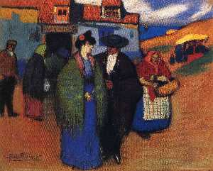 Pablo Picasso - A spanish couple in front of inn