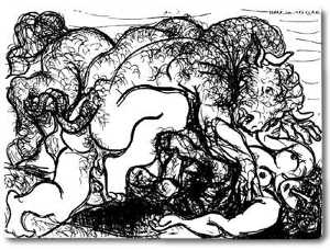 Pablo Picasso - Minotaur attacking an amazone