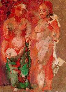 Pablo Picasso - Nude woman naked face and nude woman profile