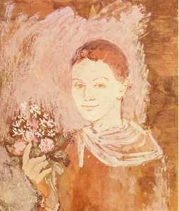 Pablo Picasso - Boy with bouquet of flowers in his hand