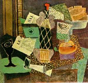 Pablo Picasso - Glass and bottle of straw rum