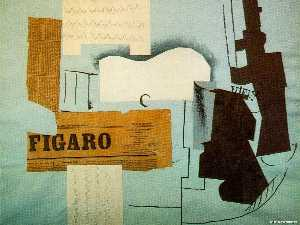 Pablo Picasso - Bottle of Vieux Marc, Glass, Guitar and Newspaper