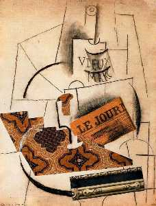 Pablo Picasso - Bottle of Vieux Marc, Glass and Newspaper