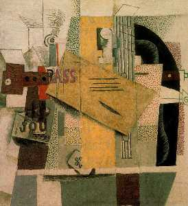 Pablo Picasso - Clarinet, bottle of bass, newspaper, ace of clubs