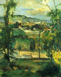 Paul Cezanne - Village behind Trees