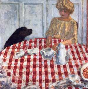 Pierre Bonnard - The Red Checkered Tablecl..
