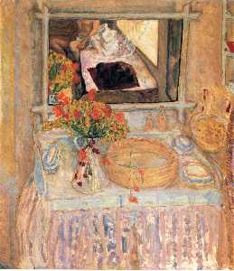 Pierre Bonnard - Toilet with a bouquet red..