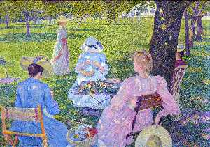 Theo Van Rysselberghe - Family in the Orchard