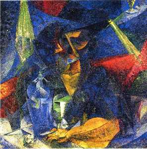 Umberto Boccioni - Woman in a Café: Compenetrations of Lights and Planes