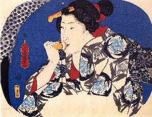 Utagawa Kuniyoshi - A beauty with a face brus..