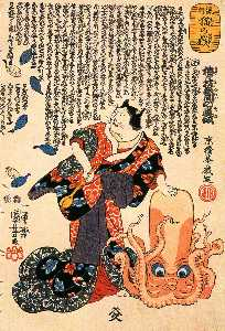 Utagawa Kuniyoshi - A cat dressed as a woman ..