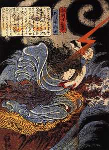 Utagawa Kuniyoshi - Uneme is exorcising the m..