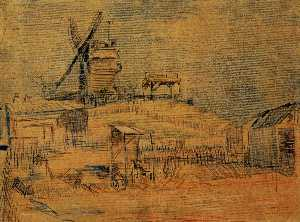 Vincent Van Gogh - Gardens on Montmartre and the Blute-Fin Windmill