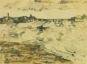 Vincent Van Gogh - The Rhone with Boats and a Bridge