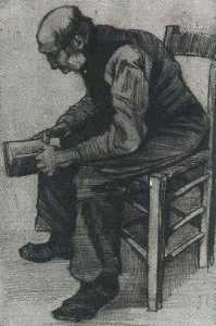 Vincent Van Gogh - Man, Sitting, Reading a Book