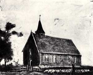 Vincent Van Gogh - Shepherd with Flock near a Little Church at Zweeloo
