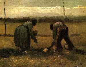 Vincent Van Gogh - Peasant and Peasant Woman Planting Potatoes