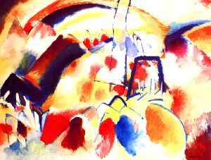 Wassily Kandinsky - Landscape with red spots