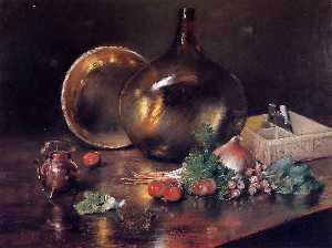William Merritt Chase - Still Life - Brass and Glass