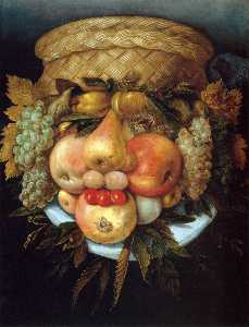 Giuseppe Arcimboldo - Reversible Head with Bask..