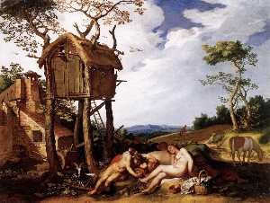 Abraham Bloemaert - Landscape with the Parable of ..