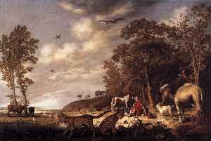 Aelbert Jacobsz Cuyp - Orpheus with Animals in a..