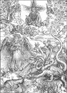 Albrecht Durer - The Revelation of St John: 10. The Woman Clothed with the Sun and the Seven-headed Dragon)