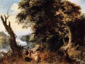 Abraham Govaerts - Landscape with Diana Receiving..