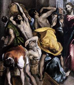 El Greco (Doménikos Theotokopoulos) - The Purification of the Temple (detail)