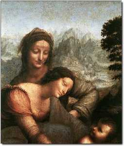 Leonardo Da Vinci - The Virgin and Child with St Anne (detail)