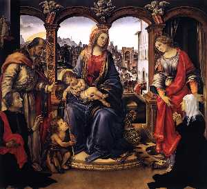 Filippino Lippi - Madonna with Child and Sa..