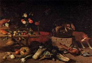 Jan Van Kessel - Interior of a Kitchen with a D..