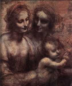 Leonardo Da Vinci - Madonna and Child with St Anne and the Young St John (detail)