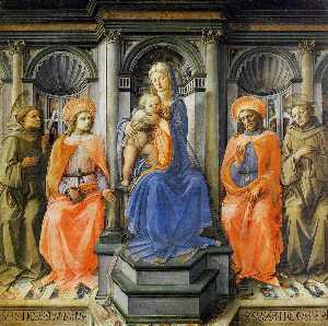 Fra Filippo Lippi - Madonna Enthroned with Sa..