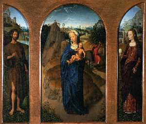 Hans Memling - Triptych of the Rest on t..