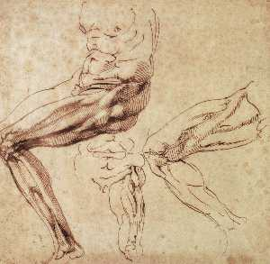 Michelangelo Buonarroti - Three Studies of a Leg