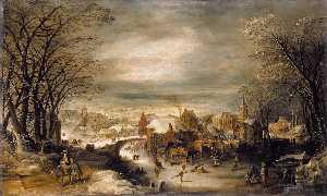 Joos De Momper - Winter Landscape with the Flight into Egypt