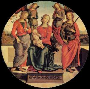 Vannucci Pietro (Le Perugin) - Virgin and Child Enthroned with Angels and Saints