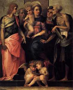 Rosso Fiorentino - Madonna Enthroned with Fo..