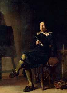 Cornelis Saftleven (Cornelis Z.. - Self-Portrait with Easel