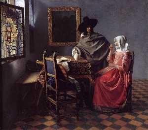 Jan Vermeer - A Lady Drinking and a Gentleman