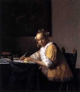 Jan Vermeer - A Lady Writing a Letter