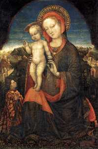 Jacopo Bellini - Madonna and Child Adored by Lionello d-Este