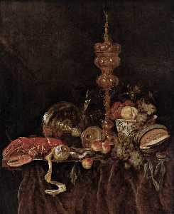 Abraham Hendriksz Van Beijeren - Still-Life with Lobster and Fr..