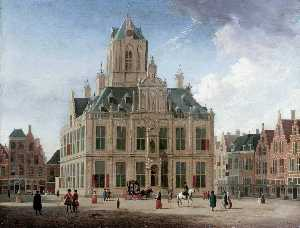 Jan Ten Compe - Delft: A View of the Town Hall..