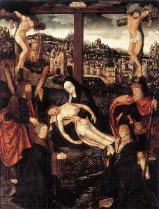 Jacob Cornelisz Van Oosts.. - Crucifixion with Donors a..