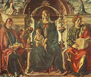 Francesco Del Cossa - Madonna with the Child and Sai..