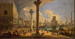 Luca Carlevaris - The Molo, Looking toward the Doge-s Palace